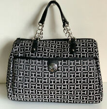 NEW! TOMMY HILFIGER BLACK BOWLER SILVER CHAIN SATCHEL TOTE BAG PURSE $85 SALE