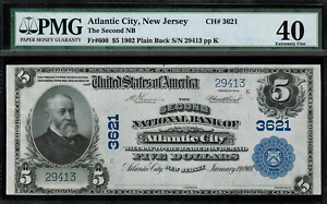 1902 $5 - Atlantic City, NJ - Plain Back - FR.600 Charter 3621 - PMG 40 EF