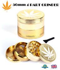 50mm GOLD GRINDER 4 Part GRASSLEAF Aluminium Grinder Herb Pollinator Crusher