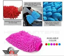 Microfiber Double Sided Car Exterior and Interior Cleaning Cloth Gloves - PINK