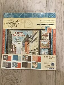 Graphic 45 8 X 8 Cityscapes New Paper Pad 24 Sheets