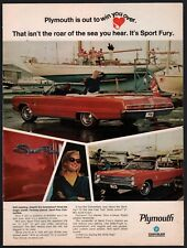 1967 PLYMOUTH SPORT FURY Red Convertible Classic Sixties 1960s Car AD