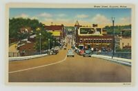 Postcard Linen Water Street Augusta Maine Old Cars