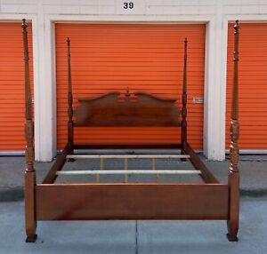 Vintage King Sized Carved Four Poster Rice Bed