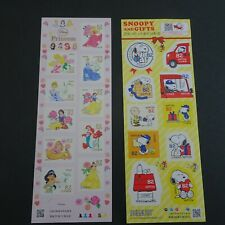 Snoopy & Disney Princess Lot of 2 Seal Stamp Full Sheet 82 JPY x 10 x 2 kinds