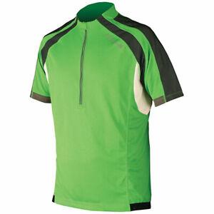 Endura Hummvee Mens 1/2 zip Short Sleeve Cycling Jersey, Green Black, S