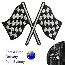 Checkered Flags Iron on patch - winning formula one race finish f1 flag patches