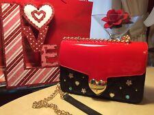 NWT BETSEY JOHNSON RED PATENT/BLACK QUILT Crossbody Shoulder BAG HEART  CLOSURE