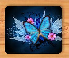 BUTTERFLY BLUE WINGS FRACTAL FASHION MOUSE PAD -kjl8Z