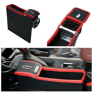 Red+Black Car Seat Left Side Crevice Storage Box Cup Holder Console Side Pocket