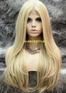 Human Hair Blend Hand Tied Monofilament Lace Front Full Wig Long Light Blonde