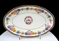"""THEODORE HAVILAND LIMOGES FRANCE CHEVERNY FLORAL 8 7/8"""" OVAL RELISH DISH 1925-36"""