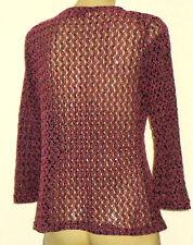 PINEAPPLE PinkOpenCrochet60%CottonMix3/4Sl Sz16
