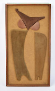 Vintage 1970's Klara Sever Limited Edition Abstract Owl Suede Wall Sculpture