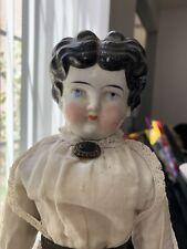 "Antique China Head Doll Black Hair Low Brow Beautiful Blue Eyes, 17"" German #4"