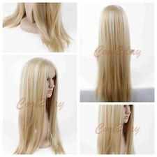 Elegant Girls Synthetic Hair Platinum Blonde Long Straight Heat Wig Resistant