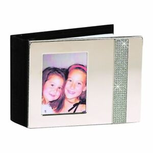 ALBUM PICTURE FRAME COVER NICKELPLATED WEDDING GIFT RHINESTONES FREE ENGRAVING