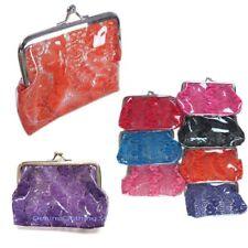 6pcs Clear Plastic Lace Print Wallet Coin Change Key Case Bag Purse Pouch Lots