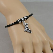 Halloween Bat Bracelet - Bat European Charm Black Leather Cord Bracelet Jewelry