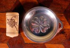 Vintage Plated Silver Mini Pocket French Tastevin Wine Tasting Cup Lucky Clover