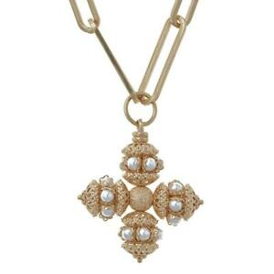 Soru Santina Chain Necklace chunky chain with small cross pendant 16/18 inch
