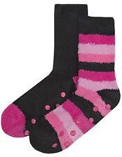 Womens Cosy Slipper Socks 2 Pack Soft Fleece Lounge Bed Socks Booties Grippers