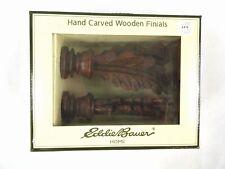 Hand Carved Wooden Curtain Rod Finials by Eddie Bauer Home Leaf Shaped NIB