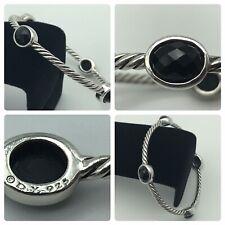 David Yurman Sterling Silver Four Station Black Onyx Bangle Bracelet Size Small