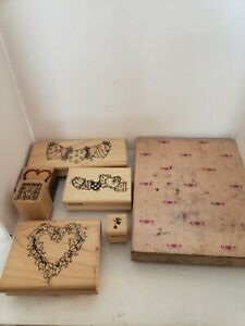 Lot Of 7 Heart Shaped Design Stampers. Pre-owned