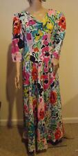 Vintage Pauline Trigere Multi Color Silk Floral Dress Short Sleeve Medium