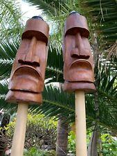 New Easter Island Moai Tiki Tiki Torch Smokin' Tikis Hawaii  SET OF 2