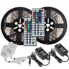 10m 2x5M 5050 RGB SMD Waterproof 300 LED Strip light +44 Key Remote +12V Power
