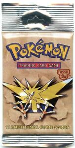 Pokémon Fossil 1999 Sealed Booster Pack 11 Cards, WOC06159, Zapdos Unopened!