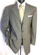 Luxury Canali 2 PC Green and Gray Plaid Suit 3Button 44L pants 38W/35 1/2L