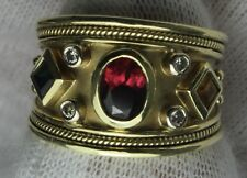 14k Emerald, Ruby, Diamond, and Citrine Gold Ring