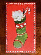 Vintage UNUSED Christmas Card EMBOSSED CAT KITTEN KITTY HANGING in a STOCKING