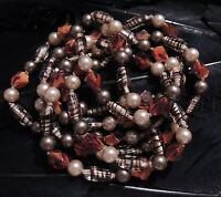 """STUNNING ESTATE HAND KNOTTED GLASS AND FAUX PEARL BEAD NECKLACE 60"""" LONG"""