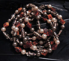 """STUNNING ESTATE HAND KNOTTED GLASS AND FUAX PEARL BEAD NECKLACE 60"""" LONG"""