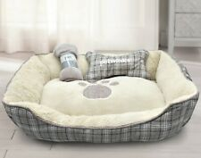 Plush Pet Bed Lounger Round 3pce Pet Dog Bed Blanket Cushion Set Anti Slip Back