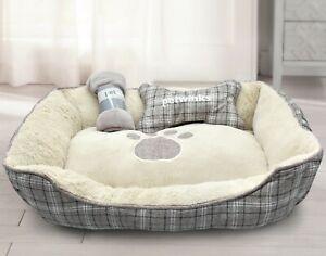 Plush Pet Bed Lounger Round Pet Dog Bed  Set Anti Slip Back