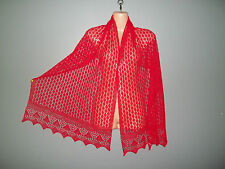 Stunning 100% pure merino lace shawl/scarf.  col. RED