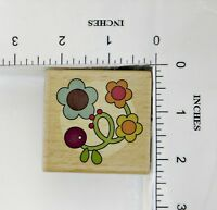 Wood Block Rubber Stamp: Flowers