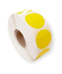 1000 GLOSS YELLOW 25MM ROUND SELF ADHESIVE BLANK LABELS, STICKERS, SECURITY SEAL