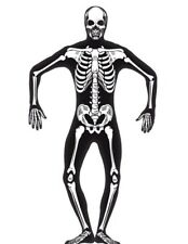 Second Skin Skeleton Mens Costume Morph Suit Mask Size Small