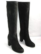 LOOKING Bottes talons 8 cm zip tout cuir noir 35 italien NEUF