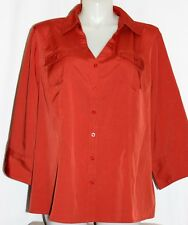 Women's Cato Orange Button Down Dress Shirt Career Top  Size 26/28W 3/4 Sleeve