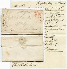 GB 1804 FREE FRANK LARGE CROWN...WRAPPER with 2 LETTERS ENCLOSED J RAINE MP