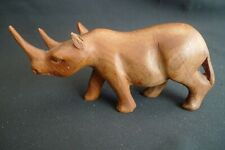 Vintage Hand Carved Wooden Walnut Wood Rhino Rhinoceros Sculpture Statue