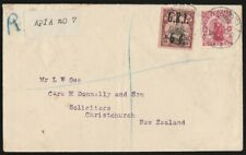SAMOA : 1914 Registered cover to New Zealand. GRI Yacht 6d. RARE!