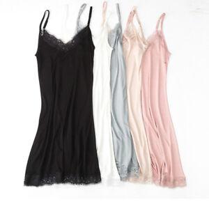 Women Silk Blend Full Slip Under Dress Satin Petticoat Camisole Sleepwear Lace